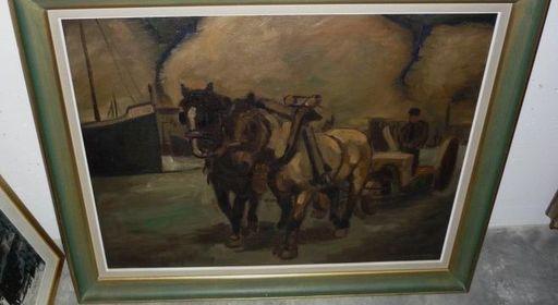 Frans SIAENS - Painting - Natiepaarden
