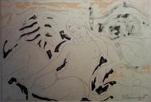 Alain BONNEFOIT - Grabado - Le lit