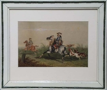 """Theodore FORT - Dibujo Acuarela - """"Fox Hunting"""" by Theodore Fort, ca 1850"""