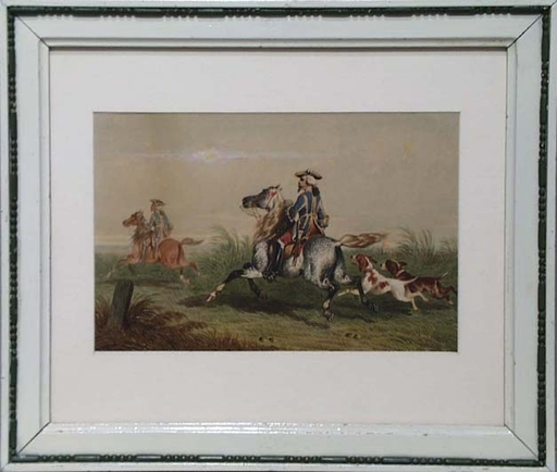 "Theodore FORT - Drawing-Watercolor - ""Fox Hunting"" by Theodore Fort, ca 1850"