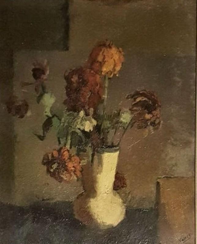 Carlo VARESE - Peinture - fleurs dans un vase