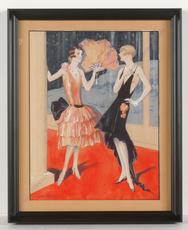 """Léo FONTAN - Dibujo Acuarela - """"Deux elegantes"""", Art Deco watercolor, 1920s"""