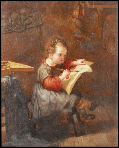 Emile Auguste CAROLUS-DURAN - Painting - The young artist in his workshop Tribute to Martin Drolling
