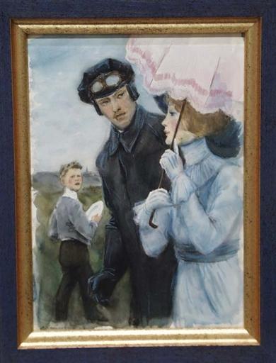 "Lev Michailovitsch KHAILOV - Zeichnung Aquarell - ""Walk"" by Lev Khailov, ca 1960"