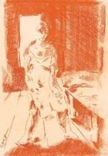 Aloys WACH - Dibujo Acuarela - Frau im Schlafzimmer