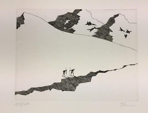 Paul FLORA - Druckgrafik-Multiple - Die Gletscherspalte