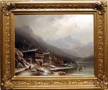 "Anton DOLL - Painting - ""Alpine Winter"", 1850s, From Royal Collection!"