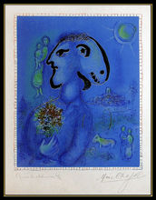 马克•夏加尔 - 版画 - Le Village Bleu (M.729)