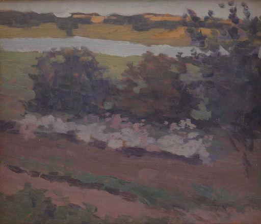 Johann WALTER-KURAU - Painting - Landschaft mit Flusslauf