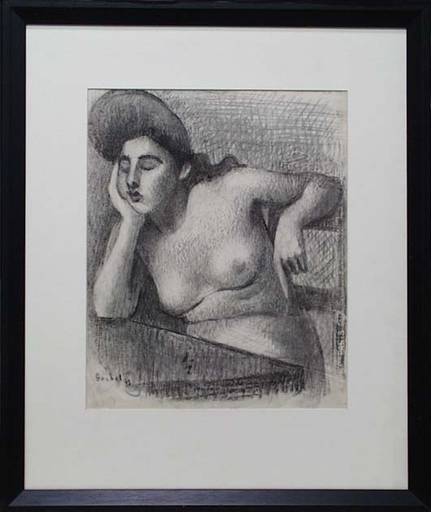 "Gottfried GOEBEL - Disegno Acquarello - ""Thoughtful"" by Gottfried Goebel (1906-1975)"