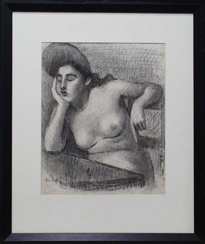 "Gottfried GOEBEL - Disegno Acquarello - ""Thoughtful"" by Gottfried Goebel (1906-1975)"