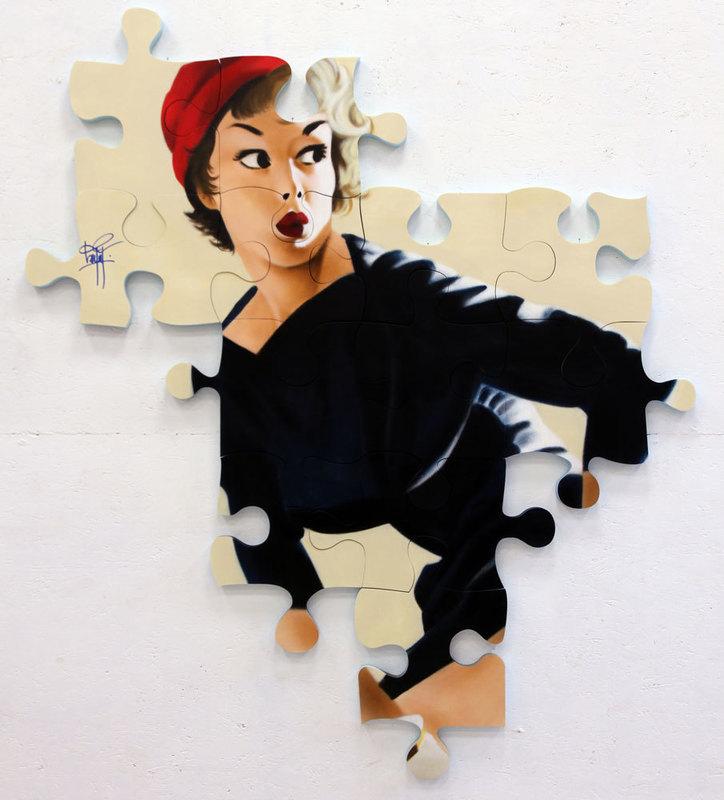 KEYMI - Painting - Louisa - série Pin-up puzzle