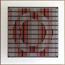 Antonio ASIS - Print-Multiple - vibration cercles noir, orange et rouge