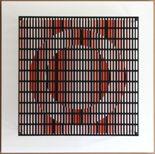 Antonio ASIS - Grabado - vibration cercles noir, orange et rouge