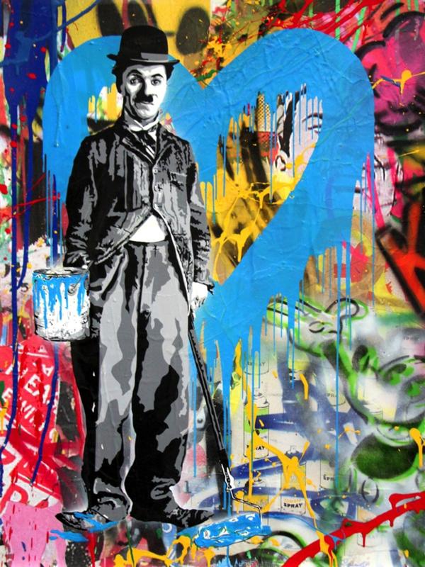 MR BRAINWASH - Painting - Chaplin, 2017