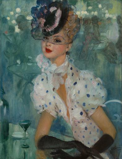 Jean Gabriel DOMERGUE - Painting - Femme au chapeau