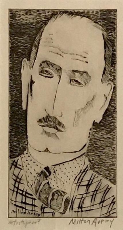Milton Clark AVERY - Print-Multiple - Head of a Man, Portrait of Louis Wiesenberg Artist Proof