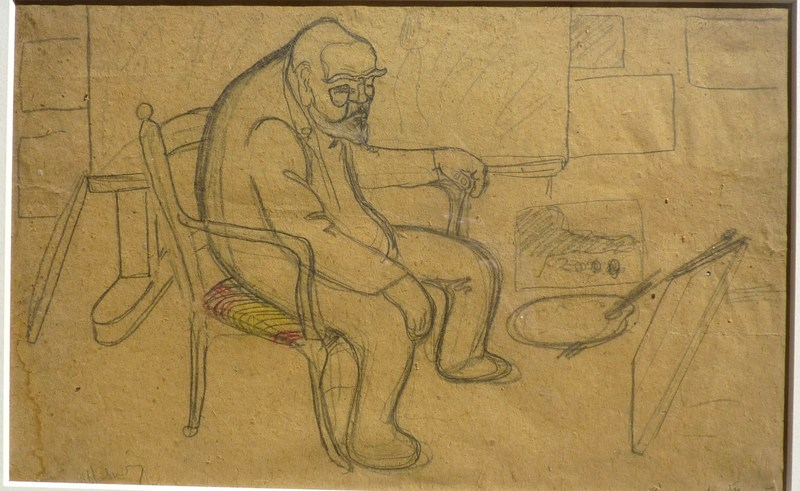 Auguste CHABAUD - Dibujo Acuarela - Le peintre dans l'atelier