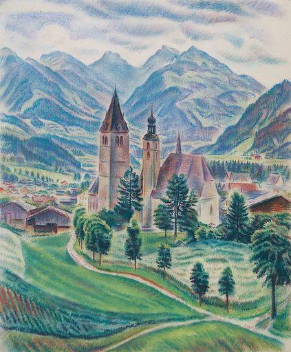 Theodor ALLESCH-ALESCHA - Dibujo Acuarela - Kitzbühel