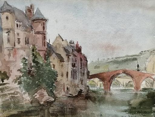 Alfred KELLER - Dibujo Acuarela - Espalion - Aveyron - (KP29)