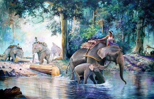 U MIN SOE - Painting - working elephant (1)