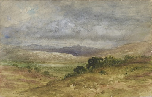 Gustave DORÉ - Disegno Acquarello - Paysage d'Écosse sous un ciel d'orage