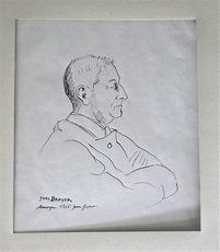 Yves BRAYER - Dessin-Aquarelle - Portrait de jean GIONO