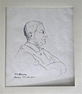 Yves BRAYER - Drawing-Watercolor - Portrait de jean GIONO