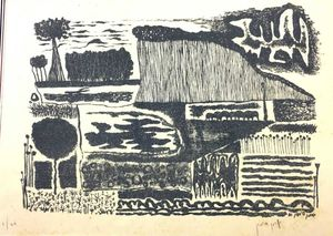 Yohanan SIMON - Estampe-Multiple - Grey Landscape