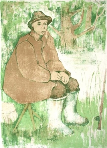 André MINAUX - Grabado - Le pêcheur