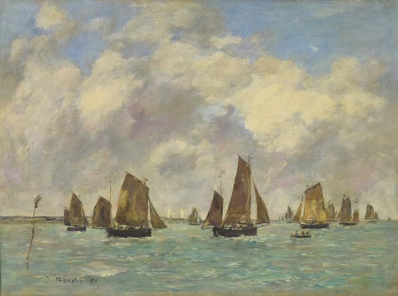 Eugène BOUDIN - Peinture - Étaples, Sortie des Barques de Pêche