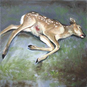 Nathalie BIBOUGOU - Painting - « Biche morte (hommage à Courbet) »