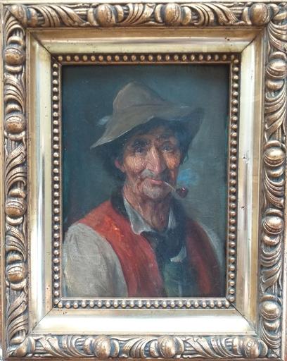 Josef Theodor MORODER-LUSENBERG - 绘画 - Bauer mit Pfeife