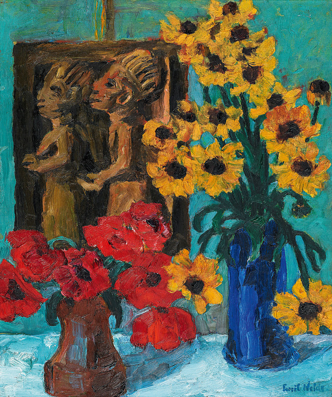 Emil NOLDE - Pintura - A Still Life of Flowers with a Wooden Sculpture