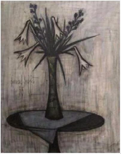Bernard BUFFET - Peinture - Lys dans un vase Gallé