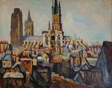 Pierre Jean DUMONT - Peinture - Les toits de Rouen et la Cathédrale