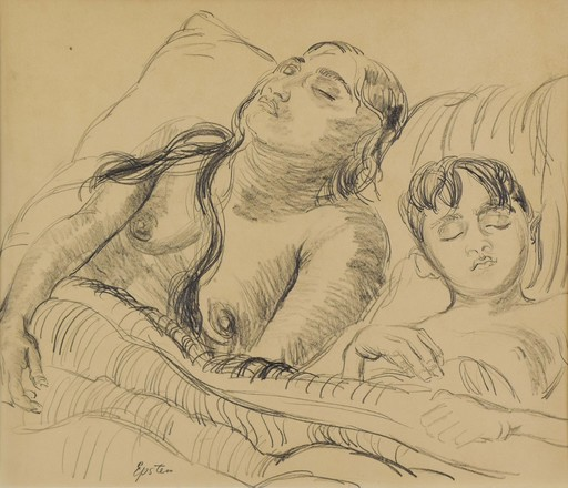 Jacob EPSTEIN - Drawing-Watercolor - Sunita and her son