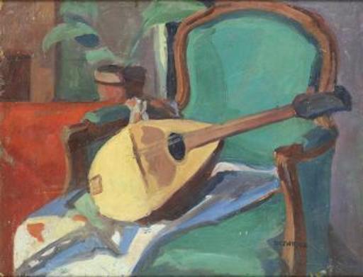 François DESNOYER - Pintura - Composición con Mandolina y Butaca