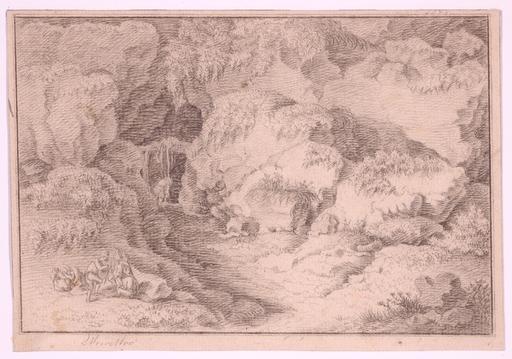 """Franz Edmund WEIROTTER - Dessin-Aquarelle - """"Resting Peasants"""" by Franz Edmund Weirotter, 18th Century"""