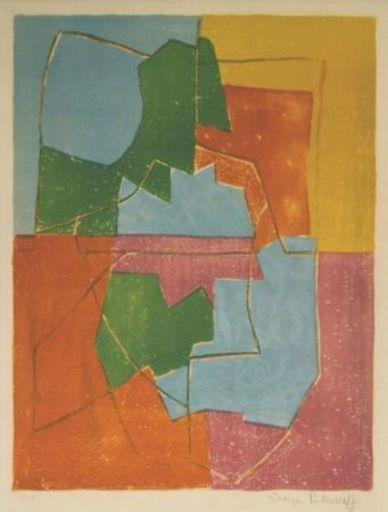 Serge POLIAKOFF - Estampe-Multiple - Composition Rouge Verte Bleue et Jaune n°12