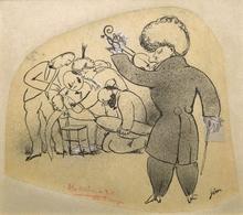 Jean COCTEAU - Dibujo Acuarela - Le Tango