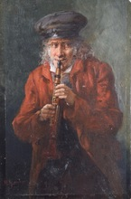 Adolf HUMBORG - Painting - Untitled (Man Playing the Flute)