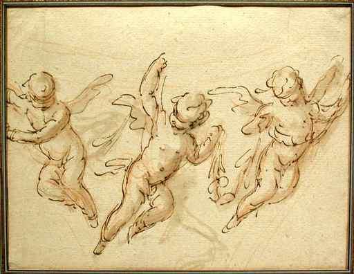 Gaspare DIZIANI - Drawing-Watercolor - Three Putti