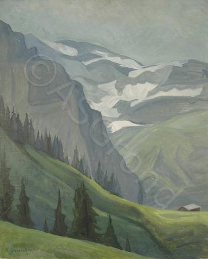Marcella GRUNDIG - Painting - Berg Panorama im Wallis