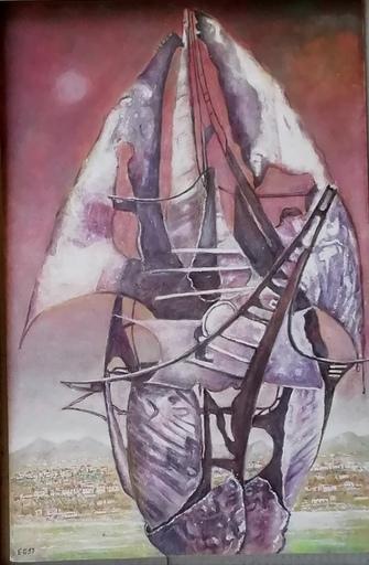 Erich GARGERLE - Gemälde - La  barca misteriosa(. 2. versione)