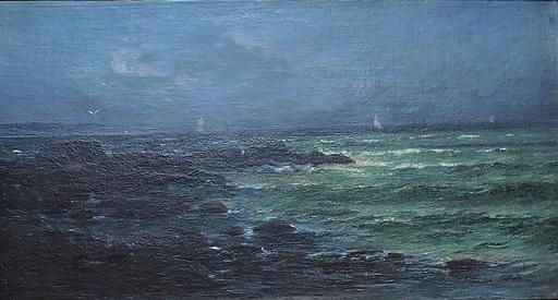 Armand Auguste FRERET - Gemälde - Voiliers aux environs de Cherbourg