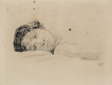 Max KLINGER - Dibujo Acuarela - Sleeping Woman
