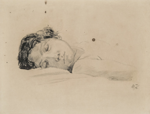 Max KLINGER - Drawing-Watercolor - Sleeping Woman
