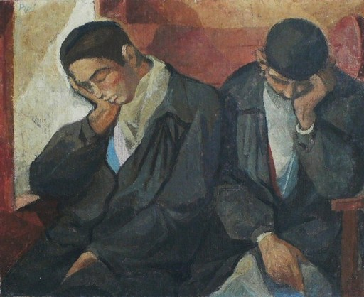 """Manolo RUIZ PIPO - Peinture - """"Les dormeurs"""" Circa 1950-55"""