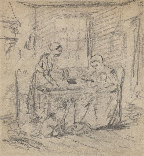 Jozef ISRAELS - Drawing-Watercolor - Mutter, ihr Kind fütternd